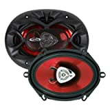 4) New BOSS CH5720 5' x 7' 2-Way 450W Car Coaxial Audio Speakers Stereo 5x7' Red