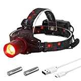 H10 High Power RED LED Zoomable Hunting Headlight for Scanning Coons,Coyotes,Predators,18650 Batteries Operated USB Rechargeable Hunting Headlamp,Lightweight,Rainproof,Adjustable Headband (RED)