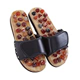 MineSign Foot Massager Slippers Plantur Arch Pain Massage Adult Unisex Shoes Agate Stone Acupressure Taiji Wooden Shoes for Summer Beach Travel Relax, Black, 6-7