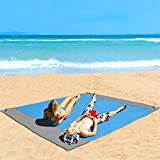 Eastjing 82' x 79' Beach Blanket Water Resistant & Sand Proof Beach Mat, Extra Large Soft 70D Ripstop Nylon Pocket Picnic Blanket with 4 Stakes for Travel, Camping, Hiking and Music Festivals