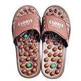 CLORIS Foot Massagers Acupressure Massage Slippers, Powerful Natural Stone Acupoint Massage Slippers Shoes for Men Women ((Men size 8-10, Women size 9-12))