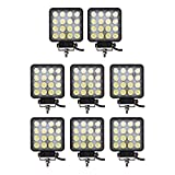 Led Light Bar, Glotech 8X48W 4inch Led Flood Square Light IP67 Waterproof Offroad Fog Driving Lights for Truck,Boat,Fishing,Jeep,Motorcycle