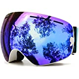 JULI Ski Goggles,Winter Snow Sports Snowboard Goggles with Anti-fog UV Protection Interchangeable Spherical Dual Lens for Men Women&Youth Snowmobile Skiing Skating