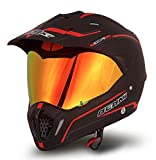 Dual Sport Helmet by NENKI Full Face Motocross & Motorcycle Helmets Dot Approved With Iridium Red Visor Attached Clear Visor NK-310 (XL, Matt Black & Red)