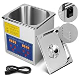 Mophorn Ultrasonic Cleaner 1.3L Total 110W Commercial Ultrasonic Cleaner Professional Stainless Steel Industrial Ultrasonic Cleaner Jewelry Cleaner with Heater Timer(1.3L)