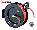ReelWorks L815153A Steel Retractable Air Compressor/Water Hose Reel with 3/8' x 50' Rubber Hose, Max. 300 psi