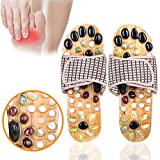 Acupressure Massage Slippers with Natural Stone, Therapeutic Reflexology Sandals for Foot Acupoint Massage Shiatsu Arch Pain Relief, Nonslip Anti Bacterial, Fit 9 Women / 7.5 Men Feet Size