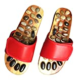JOINTUP Women Thiatsu Massage Slippers in Natural Stone for Foot Plantar Tens Acupoints Reflexology Therapy for Health Care (US 6.5, Red)