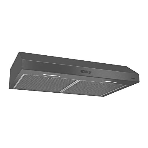 Broan Glacier Convertible Range Hood, Exhaust Fan and Light Combo for Over Kitchen Stove, Black Stainless Steel, 30', 1.2 Sones, 300 CFM