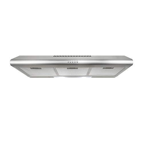 Cosmo 5MU36 36-in Under-Cabinet Range-Hood 200-CFM | Ducted / Ductless Convertible Top / Rear Duct , Slim Kitchen Stove Vent with LED Lights, 3 Exhaust Fan Speeds, Reusable Filters (Stainless Steel)