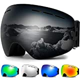 Zerhunt Ski Goggles, Snowboard Goggles Over Glasses, Anti Fog UV Protection Snow Goggles OTG Interchangeable Lens for Men Women Snowmobile, Skiing, Skating, Black