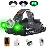 BORUIT LED Headlamp - Ultra Bright 5000 Lumens, 3 Lighting Modes,White & Green LEDs, IPX4 Water Resistant, USB Rechargeable Head Lamp Perfect for Running, Camping, Hiking & More (green)