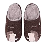Cute Animal House Slippers for Women Fuzzy Hedgehog Home Shoes Waterproof Sole Indoor Slippers, Brown, 8-9.5 Women / 6.5-8 Men
