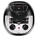 ACEVIVI Foot Spa Bath Massager with Heat and Massage and Bubble Jets, Motorized Shiatsu Massage Ball + Motorized Maize Roller + Rotatable Pedicure Stone, Red Light, Adjustable Time & Temperature,LED