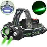 X-BALOG LED Headlamp with Green Light- Green Coyote Hog Hunting Light-Green Fishing Headlight Flashlight USB Rechargeable -Super Bright for Outdoor,Camping,Cycling, Caving