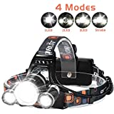 LED Headlamp, 6000 Lumens Max 4 Modes Waterproof Head Flashlight Light Waterproof Flashlight Head Lights for Camping, Hiking, Outdoors
