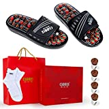 Reflexology Massage Sandals with Jade Stones and Tourmalines | CLORIS Therapeutic Stone Massage Slippers for Men Women | Massage Shoes for Foot Care with a Pair of Sock