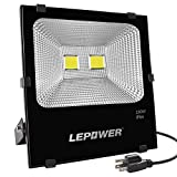 LEPOWER 100W LED Flood Light Outdoor, Super Bright Outdoor Work Light, 500W Halogen Bulb Equivalent, IP66 Waterproof, 8000lm, 6000K, White Light,Floodlight (100W White Light)