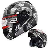 Motorcycle Helmet Adult DOT Modular Flip up Full Face Sports Bike Snowmobile Helmet with Anti-Fog Shield (235 Black, XL)