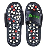 Aolvo Reflexology Sandals, Accupressure Slippers Foot Therapy Massage Slippers with 82 Removable Rotating Acupuncture Points for Plantar Fasciitis Non-Slip Healthy Shoes for Women Men,1 Pair (38-39)