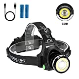 Headlamp Flashlight, 2 in 1 Newest Headlight T6 Spot(Zoomable)+COB Board Flood Light, 6000 Lumen Waterproof USB Rechargeable Hard Hat Head lamp, Up-Close Work Head Light for Outdoor Camping Hunting