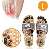 Acupressure Massage Slippers with Natural Stone, Therapeutic Reflexology Sandals for Foot Acupoint Massage Shiatsu Arch Pain Relief, Fit 8-9.5 Men / 9.5-11 Women Feet Size